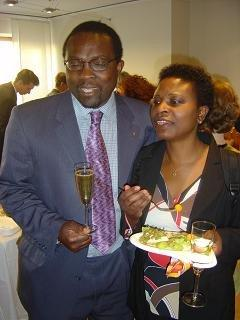 Frans and his wife Jeanette Kilinda at a reception for friends in Stockholm